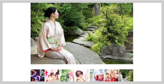 アルバムのように写真を配置する、使い勝手の良いギャラリーページ搭載
